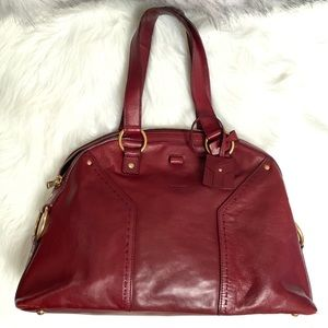 Yves Saint Laurent Muse Leather Bag Red